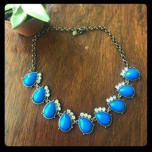 J. CREW Cobalt blue gold rhinestone necklace